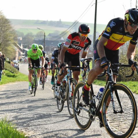 Philippe Gilbert (Quickstep) leads Greg Van Avermaet (BMC) in the lead group on the Boignenberg
