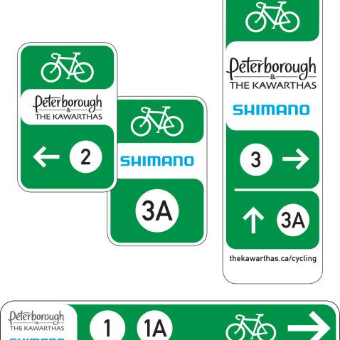 Peterborough and the Kawarthas and Shimano route signs