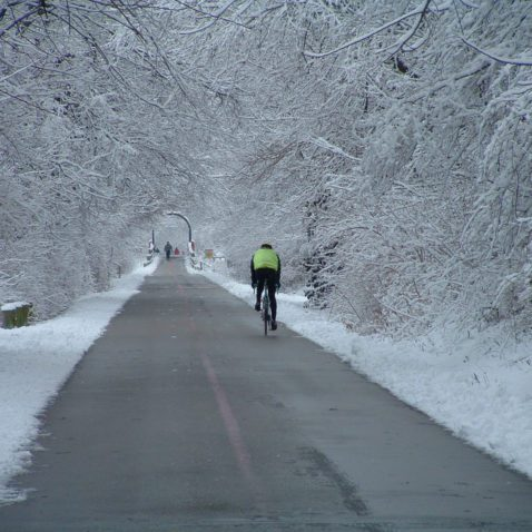 Bicyclist on trail on snowy day.