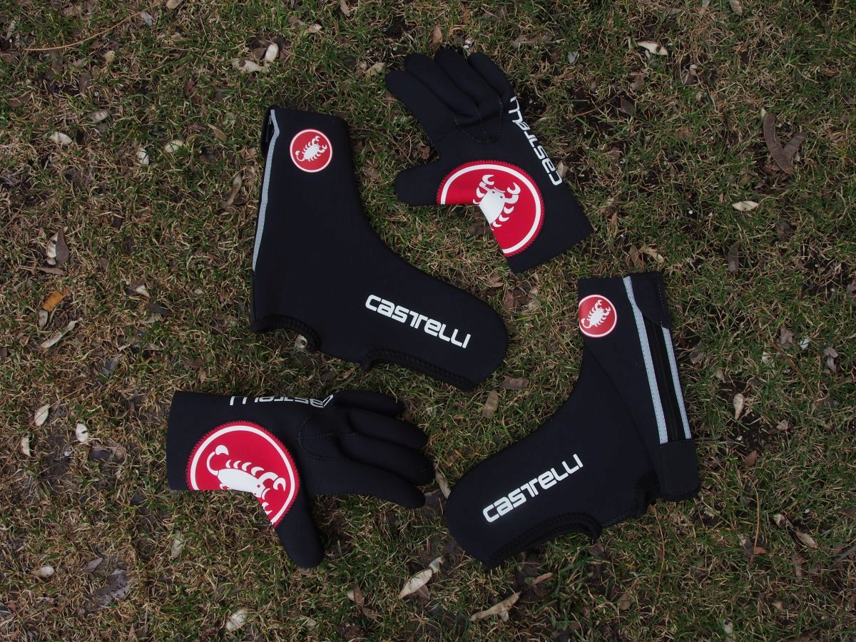 Castelli shoe covers and gloves
