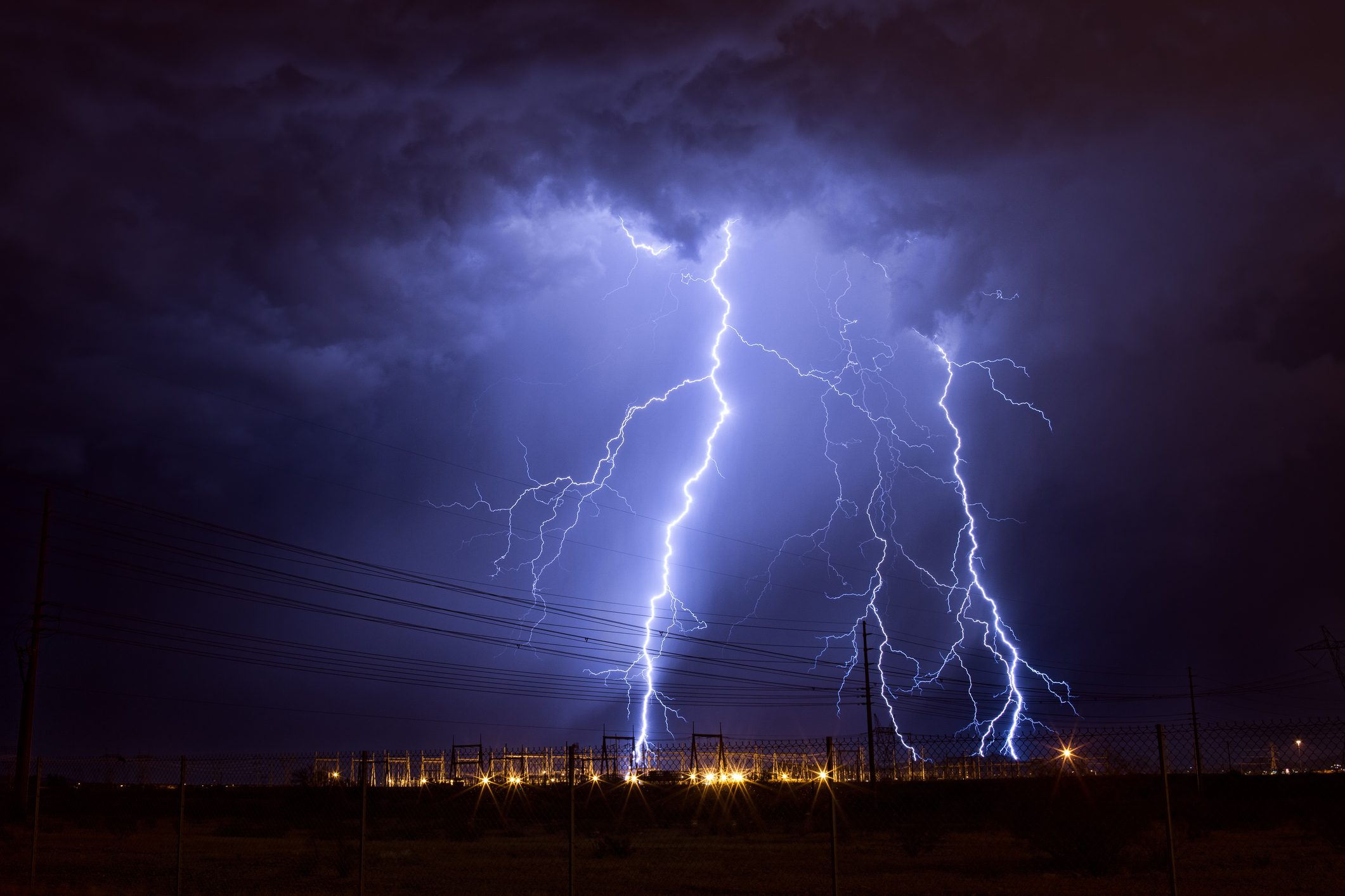 Lightning strikes an electrical substation in the city of Phoenix.