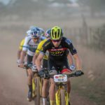 Andri Frischknecht of SCOTT SRAM DVS leads from the gun during stage 5 of the 2019 Absa Cape Epic Mountain Bike stage race held from Oak Valley Estate in Elgin to the University of Stellenbosch Sports Fields in Stellenbosch, South Africa on the 22nd March 2019.  Photo by Nick Muzik/Cape Epic  PLEASE ENSURE THE APPROPRIATE CREDIT IS GIVEN TO THE PHOTOGRAPHER AND ABSA CAPE EPIC