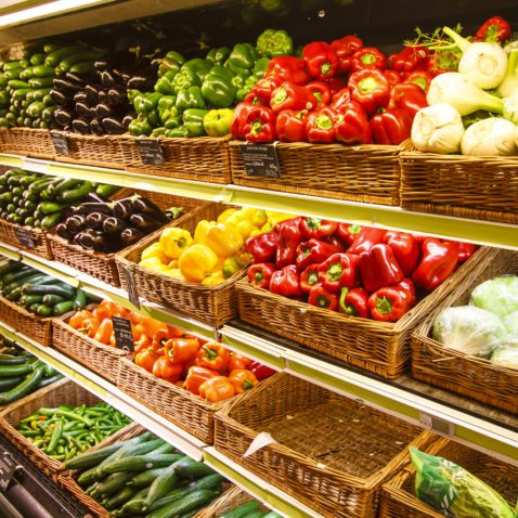 Vegetable section in the big city department store, Paris, France